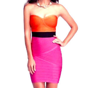 bebe black orange hot pink dress m